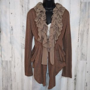 RYU Victorian Brown Ruffle Cardigan/ Medium